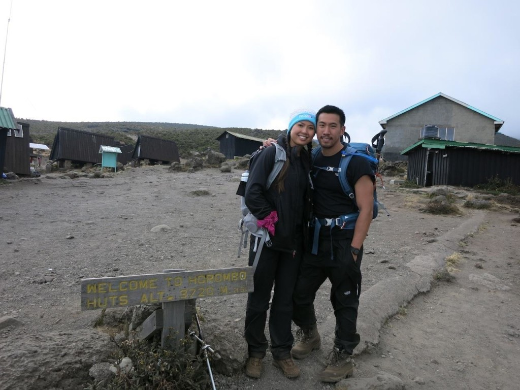 At 12,000 ft. altitude hiking Mt. Kilimanjaro in Tanzania