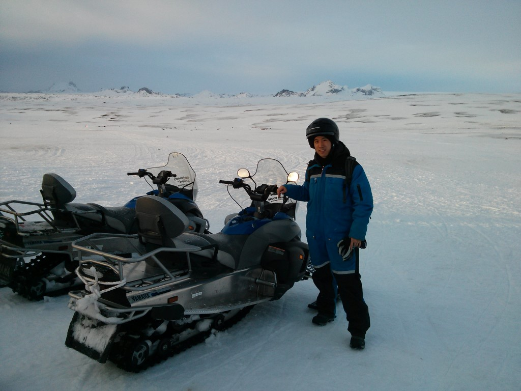 Riding snowmobiles in Iceland